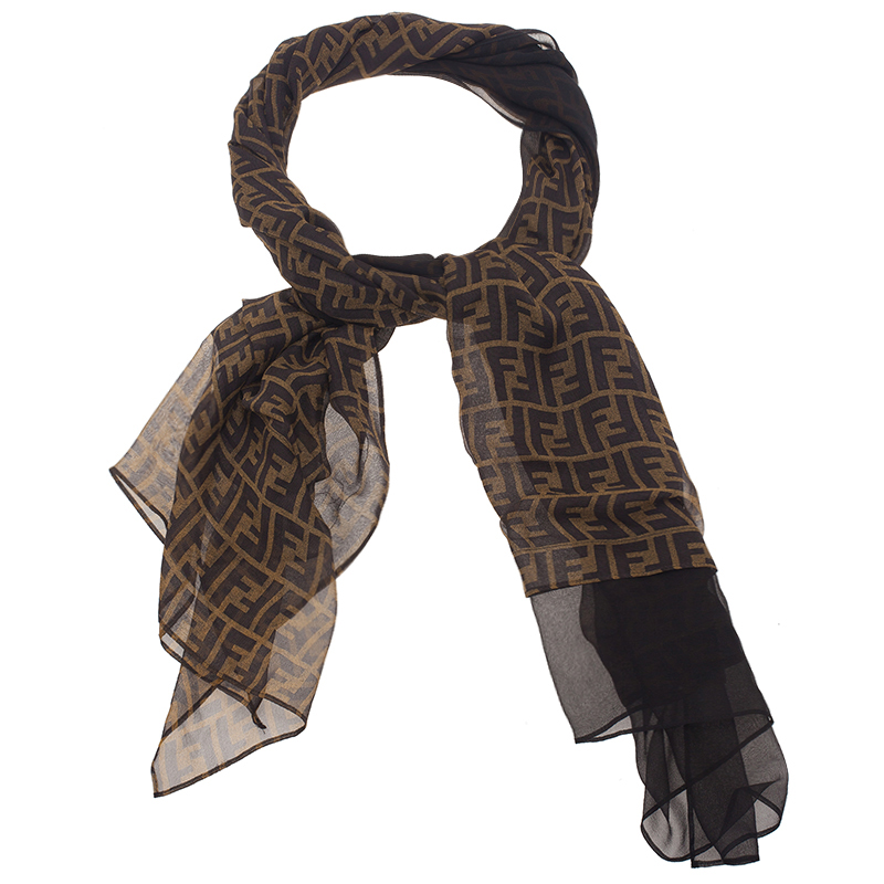 fendi tobacco zucca silk scarf buy sell lc