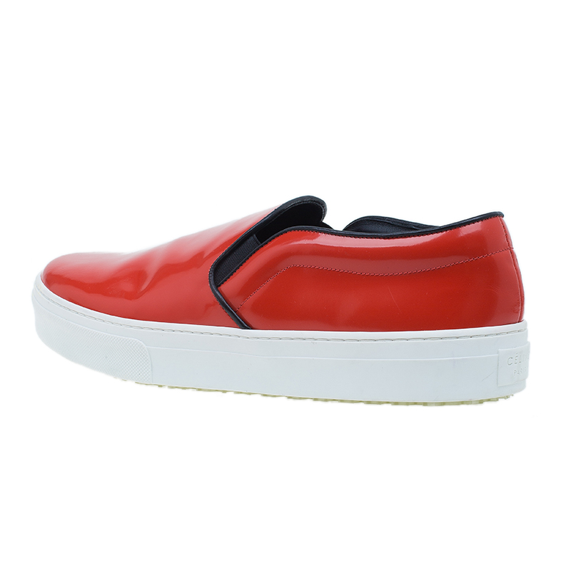 Celine Red Patent Skate Slip On Sneakers Size 41