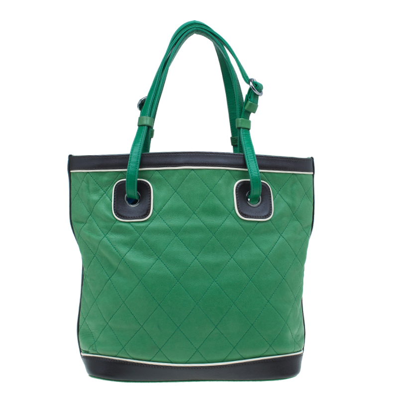 Chanel Green Quilted Leather Country Club Tote Bag