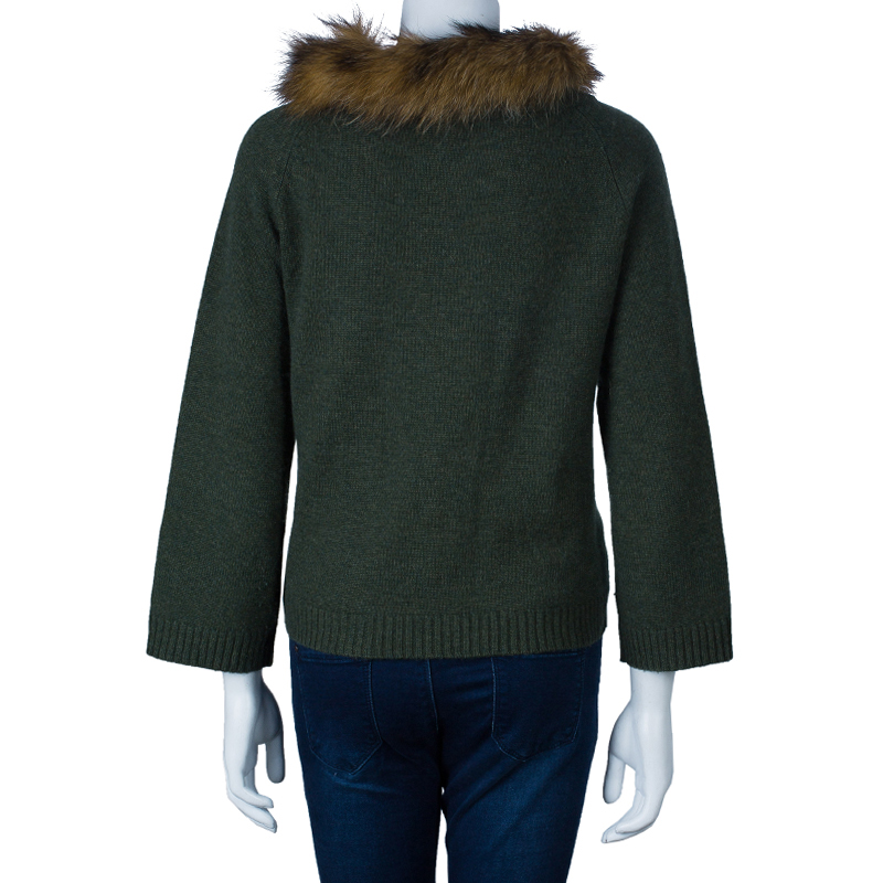 CH Carolina Herrera Green Raccoon Fur Trim Sweater S