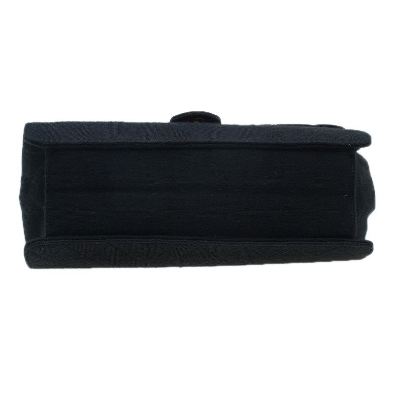 Chanel Black Quilted Fabric Flap Shoulder Bag