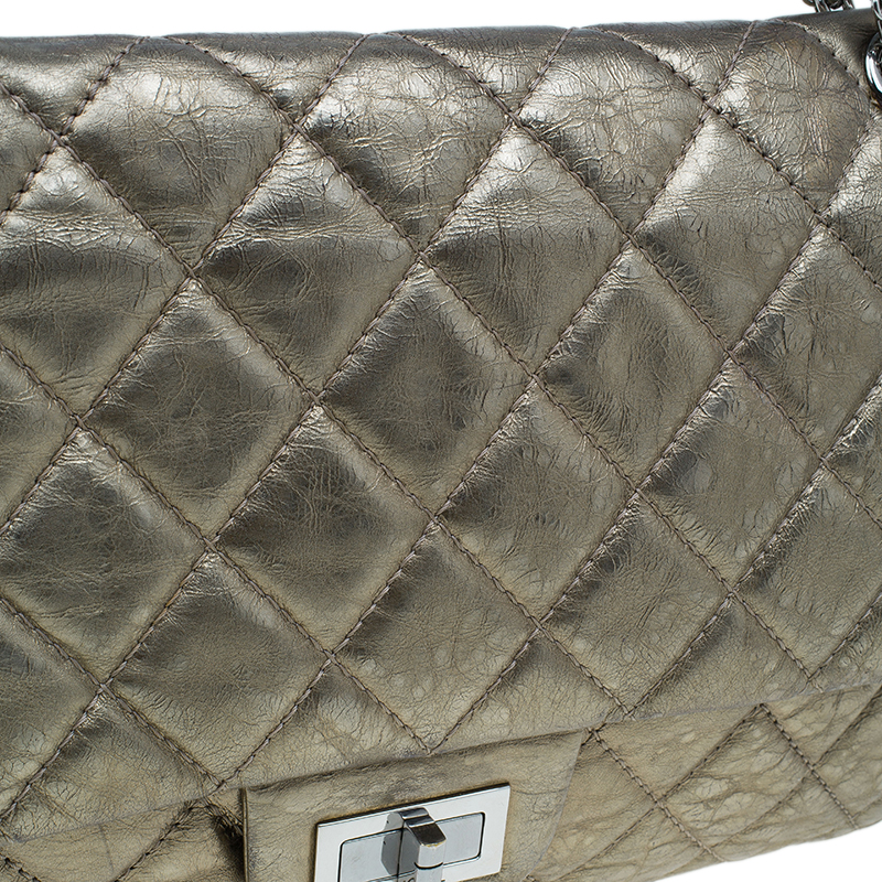 Chanel Metallic Gold Quilted Calfskin Leather Jumbo 2.55 Reissue Classic 227 Flap Bag