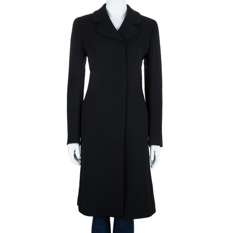 Emilio Pucci Black Print Lining Coat M