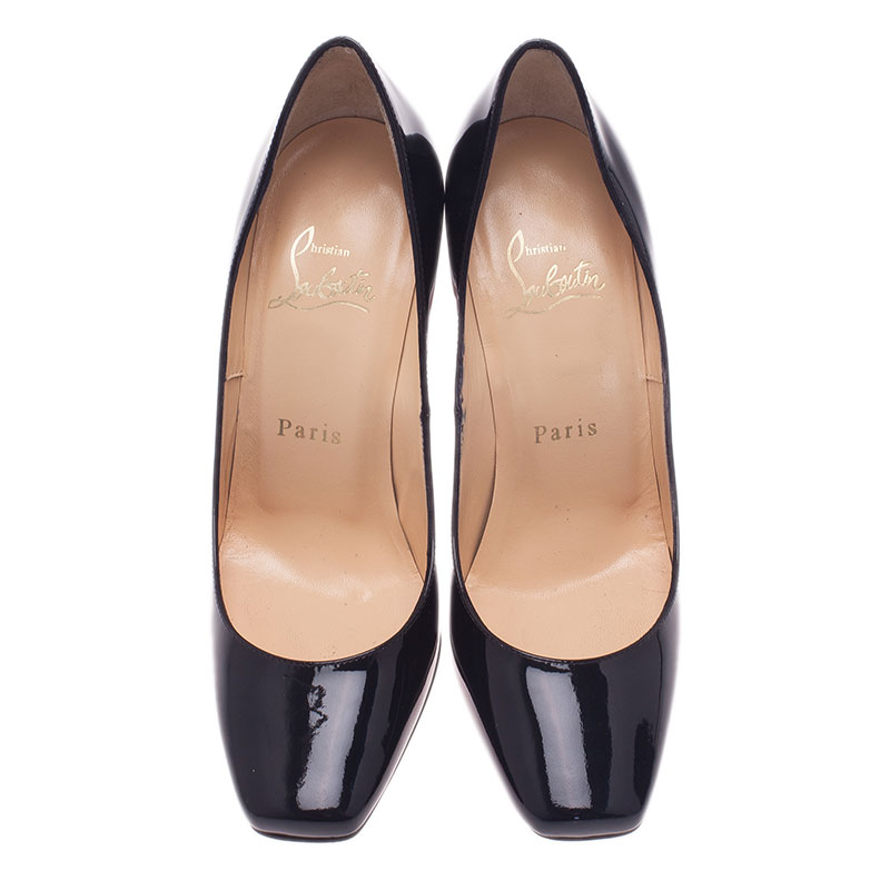 Christian Louboutin Black Patent Particule Square Toe Pumps Size 36