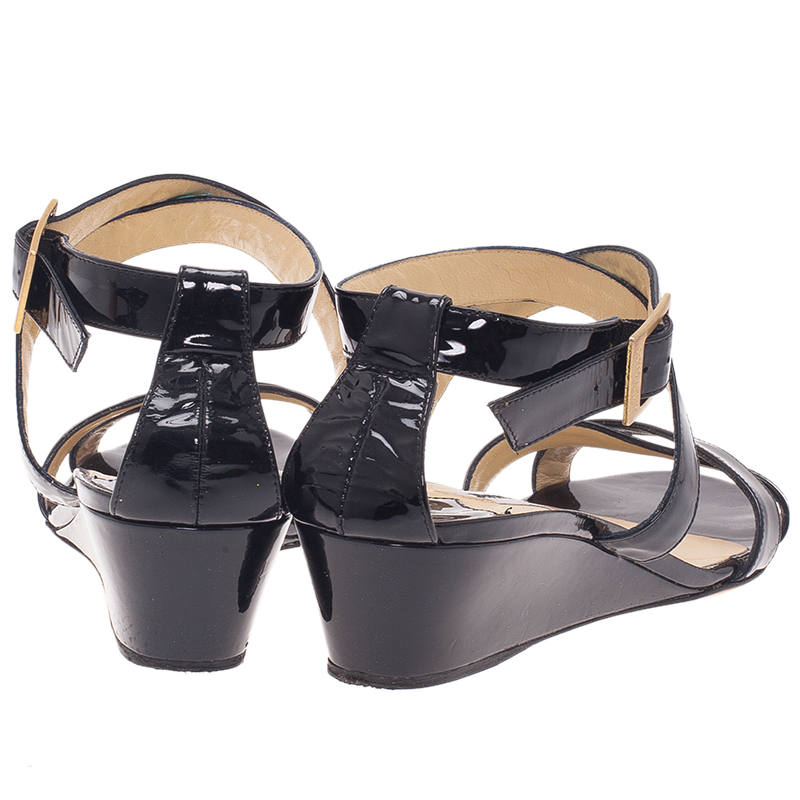 Jimmy Choo Black Patent Connor Wedge Sandals Size 39