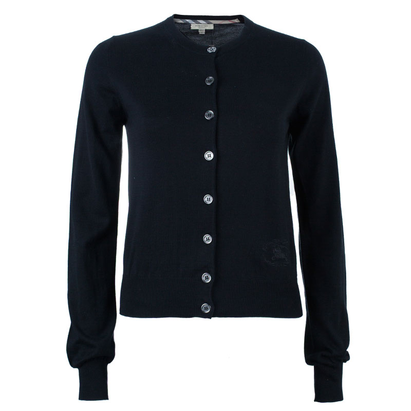 Burberry Black Button Down Cardigan S