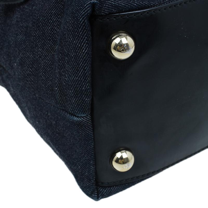 Valentino Black Denim/Leather Floral Chiffon Appliqué Tote