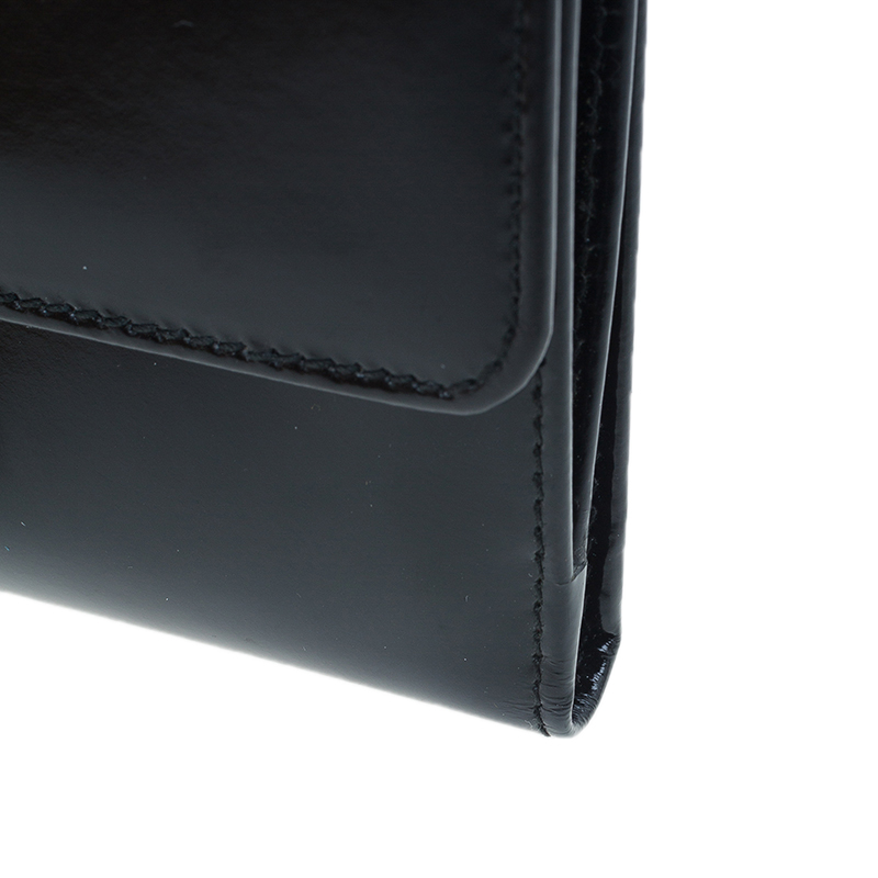 Gucci Black Patent Leather Continental Wallet