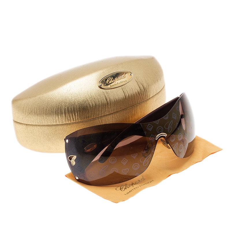 Chopard Gold Monogram SCH632 Shield Sunglasses