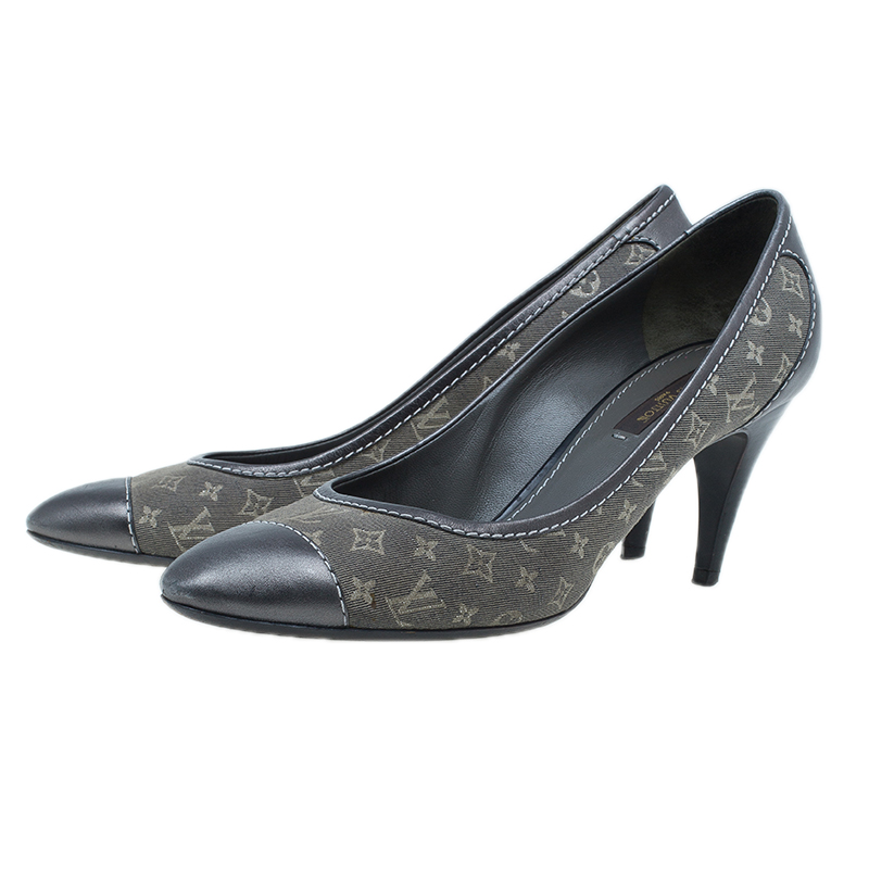 Louis Vuitton Grey Monogram Idylle Canvas and Leather Cap Toe Pumps Size 38