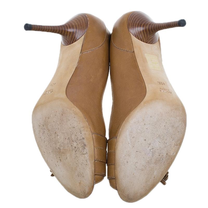 Gucci Tan Leather Marrakesh Tassel Peep Toe Pumps Size 40.5