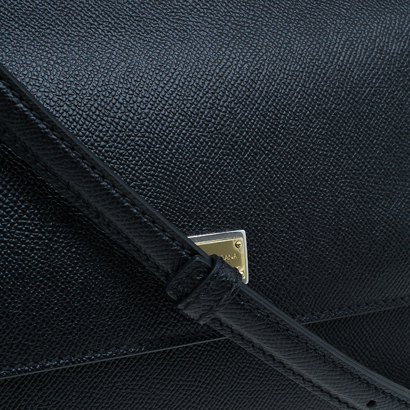 Dolce and Gabbana Black Leather Medium Miss Sicily Tote Bag