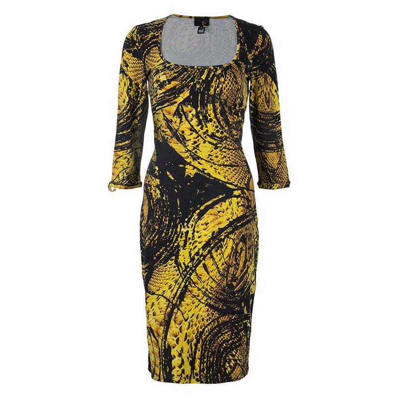 Just Cavalli Honeycomb Print Bodycon Dress L