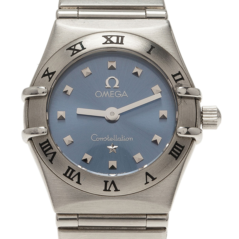 Omega Blue Mother of Pearl Stainless Steel Constellation My Choice Women's Wristwatch 22MM