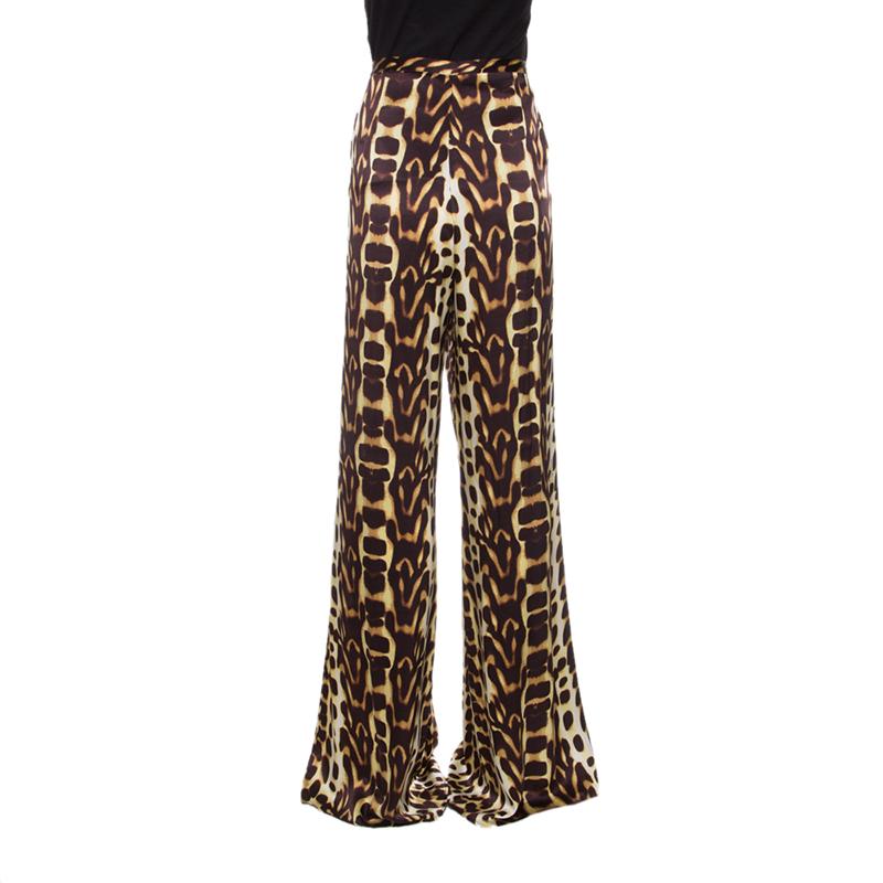Купить со скидкой Just Cavalli Animal Printed Silk High Waist Wide Leg Pants L