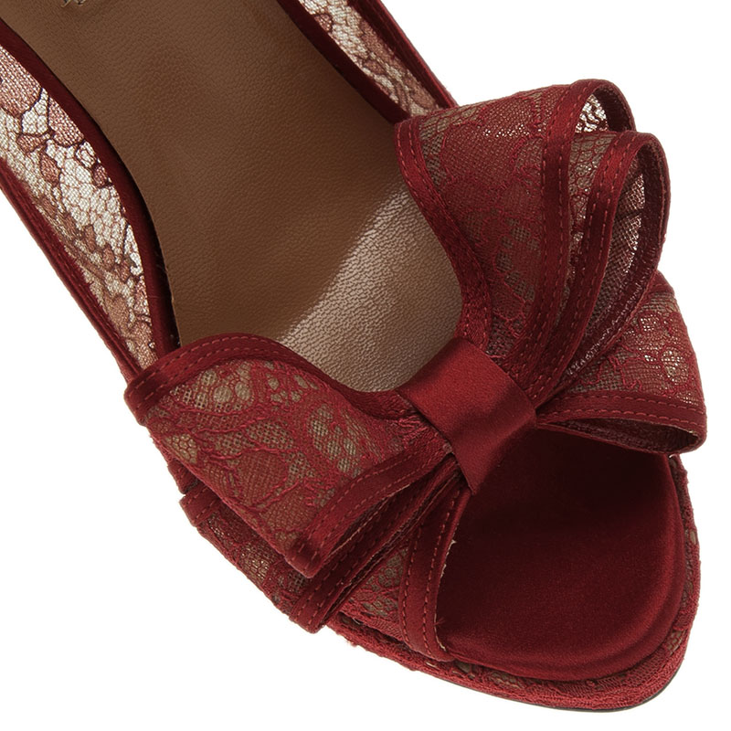 Valentino Red Lace Bow Peep Toe Platform Pumps Size 36