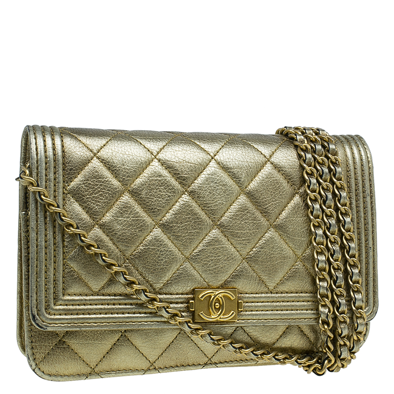 Chanel Gold Quilted Lambskin Leather Boy WOC Clutch Bag