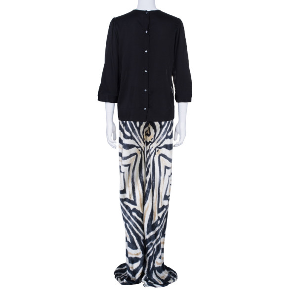 Roberto Cavalli Animal Print Silk Top And Trousers Set S/M