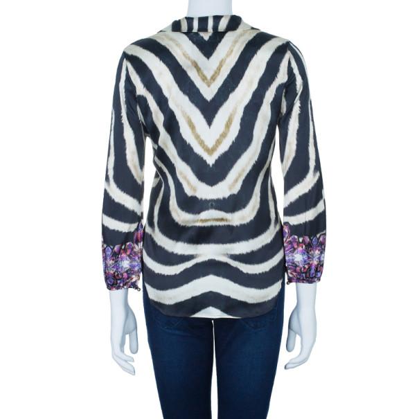Roberto Cavalli Jewel Zebra Button Down Silk Shirt S