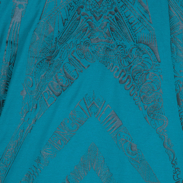 Roberto Cavalli Turquoise Abstract Print Men's T-Shirt XXL