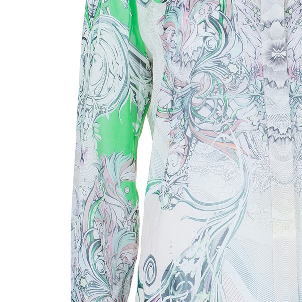 Roberto Cavalli Abstract Silk Chiffon Top And Skirt Set M/S