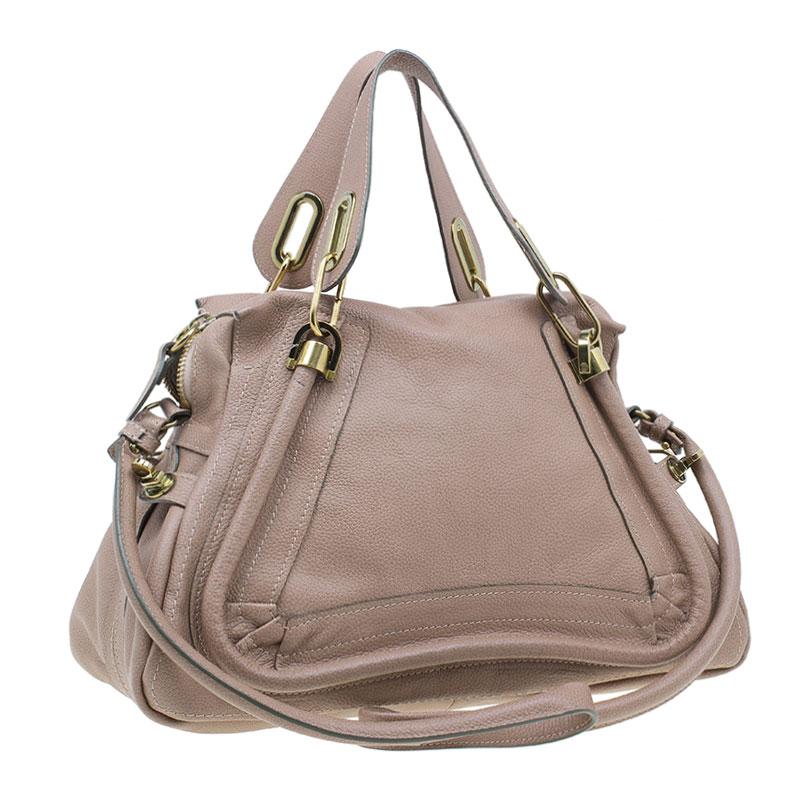 Chloe Beige Leather Medium Paraty Bag