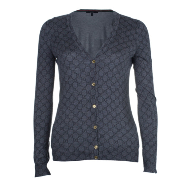 Gucci Grey Monogram Button Down Cardigan S