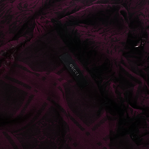 Gucci Purple Printed Wool and Silk Scarf