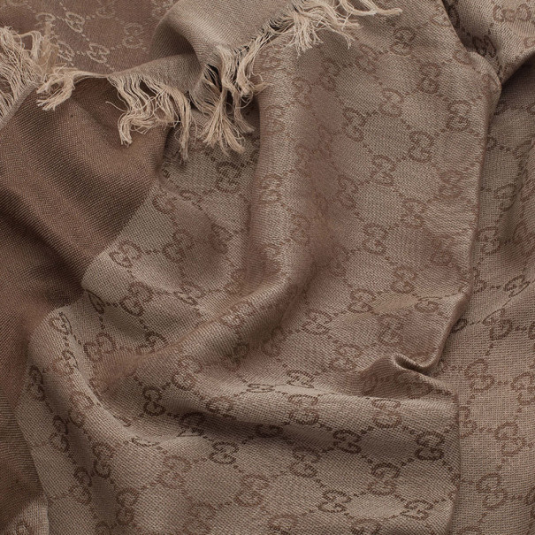 Gucci Beige GG Cotton and Silk Square Scarf