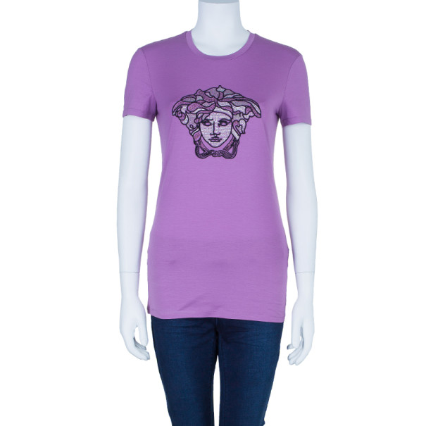 Versace Purple Studded Medusa T-Shirt M