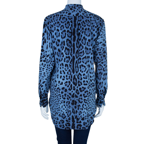 Dolce and Gabbana Blue Animal Print Button Down Shirt S