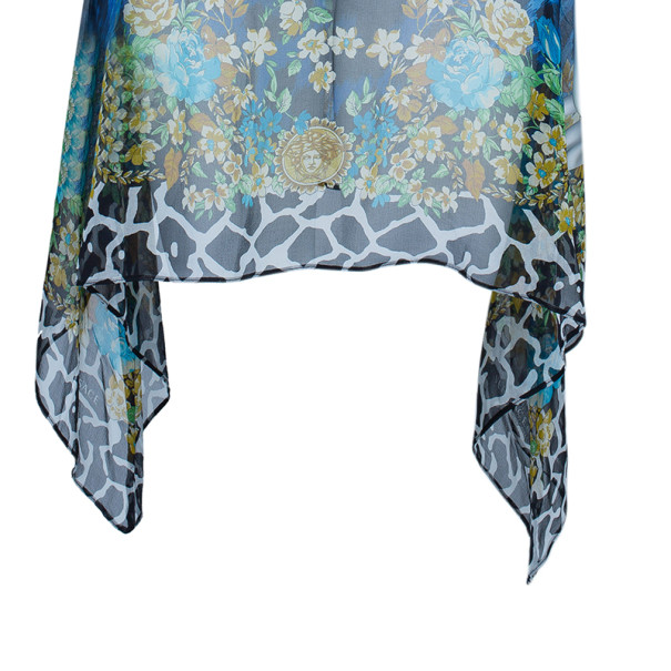 Versace Blue Animal Floral Silk Top M