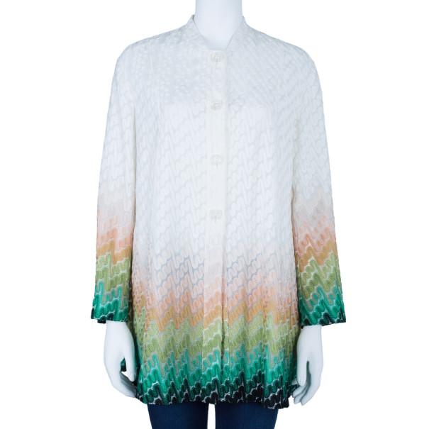 Missoni Wave Knit Multicolor Button Down Long Cardigan M