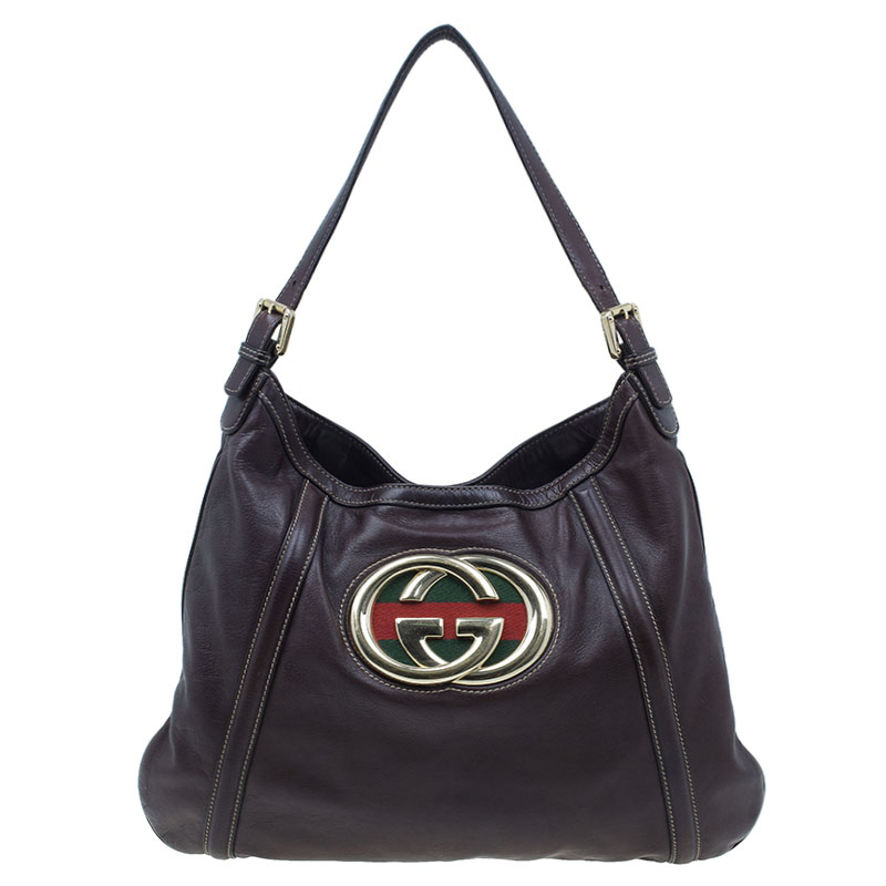 Gucci Brown Leather Medium Britt Hobo