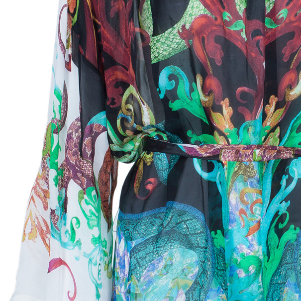 Roberto Cavalli Multiprint Oversized Silk Top S