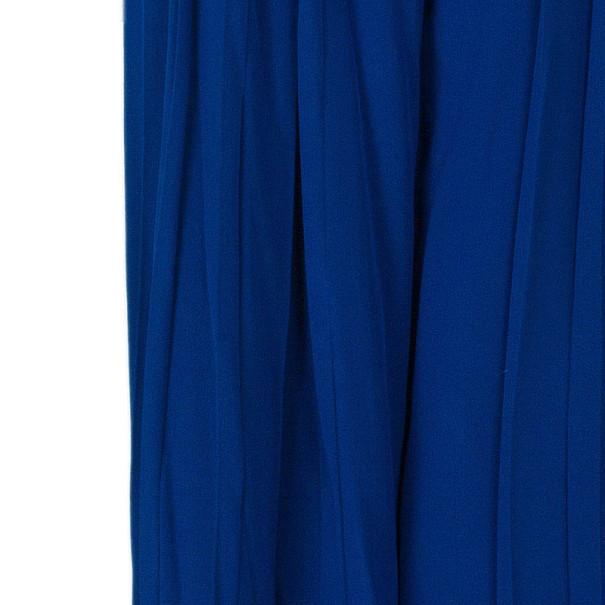 Roberto Cavalli Blue Wide-Leg Silk Trousers M