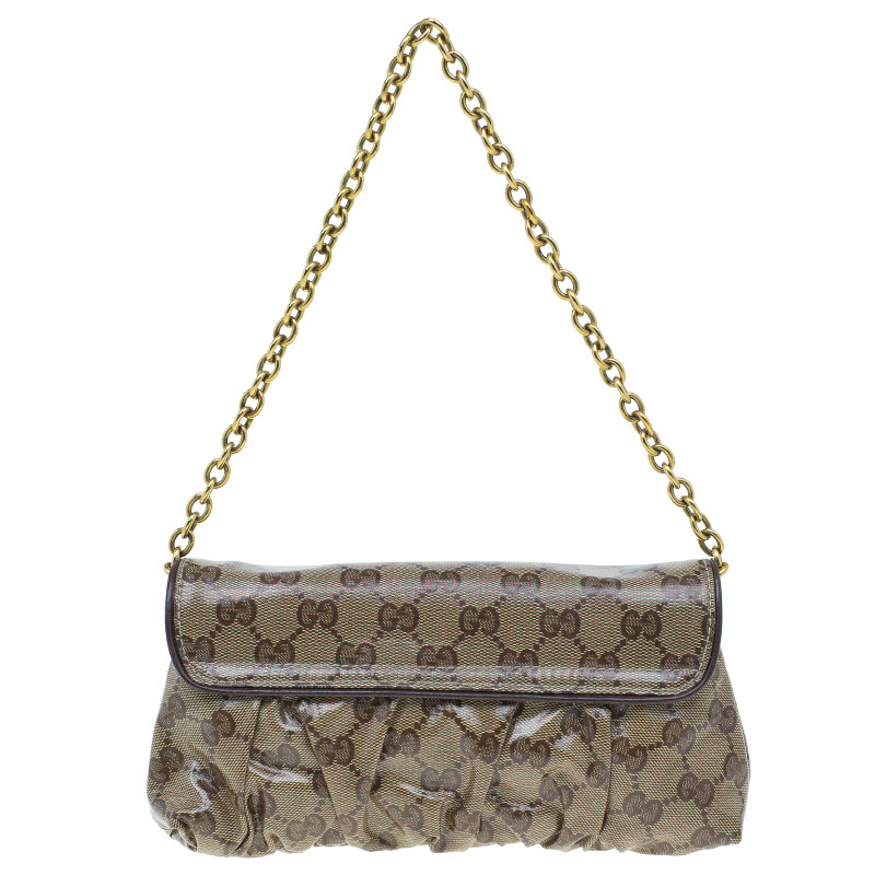 Gucci Brown Crystal Canvas Hysteria Evening Clutch Bag
