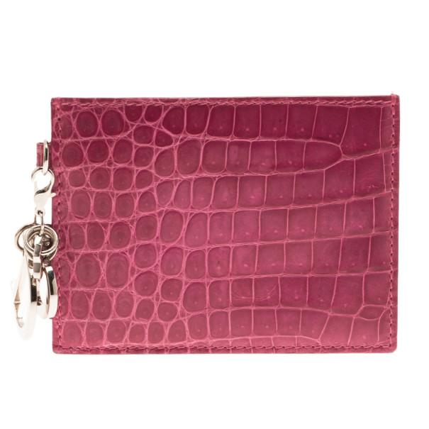 Dior Pink Croc Embossed Card Case