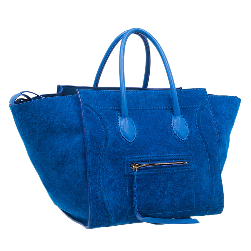 Celine Bright Blue Rust Suede Leather Small Phantom Luggage Tote