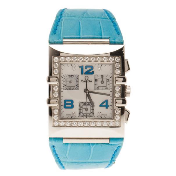 Omega White Stainless Steel Constellation Quadra Women's Wristwatch 29MM