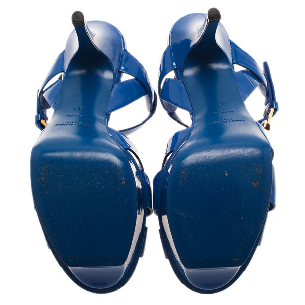Saint Laurent Paris Blue Patent Tribute Platform Sandals Size 37