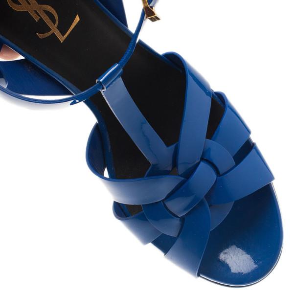 Saint Laurent Paris Blue Patent Tribute Platform Sandals Size 37
