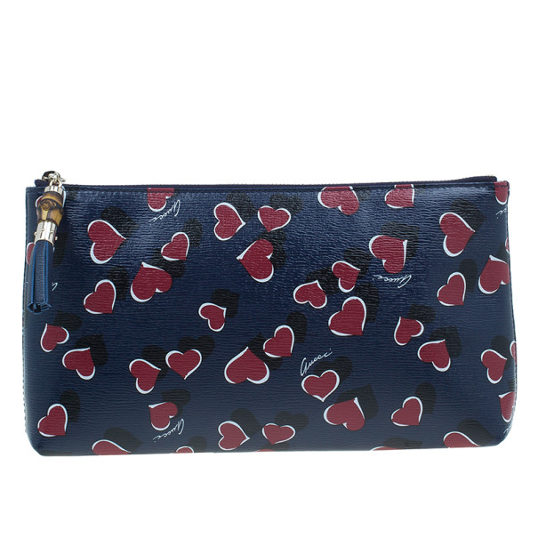 Gucci Blue Busta Grande Heart-Print Textured Leather Pouch