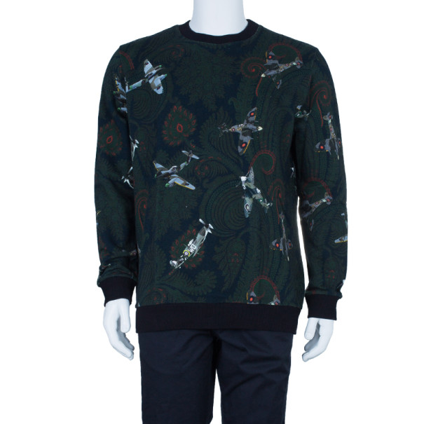 Givenchy Men's Paisley Aeroplane Print Knit Sweater L