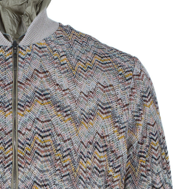 Missoni Men's Multicolor Knit Bomber Jacket L