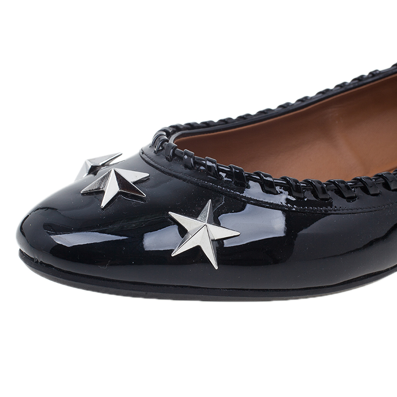 Givenchy Black Star Studded Whipstitch Leather Ballet Flats Size 39.5