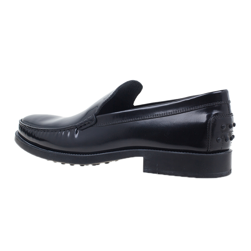 Tod's Black Leather Slip On Loafers Size 45.5