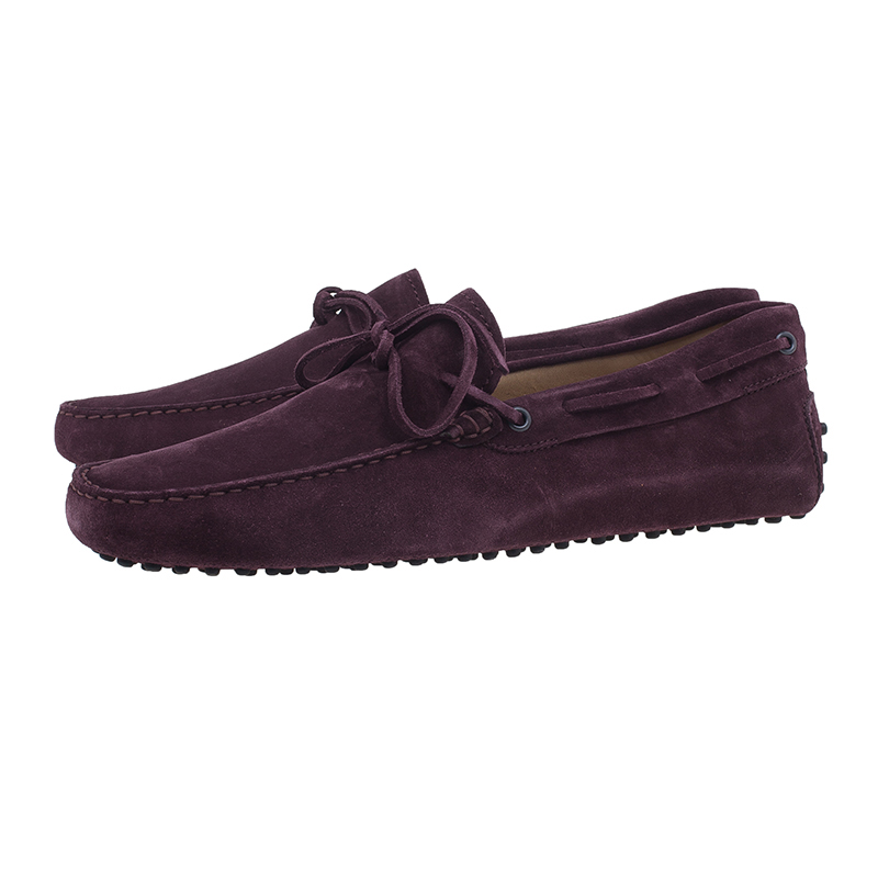 Tod's Purple Suede Bow Loafers Size 43