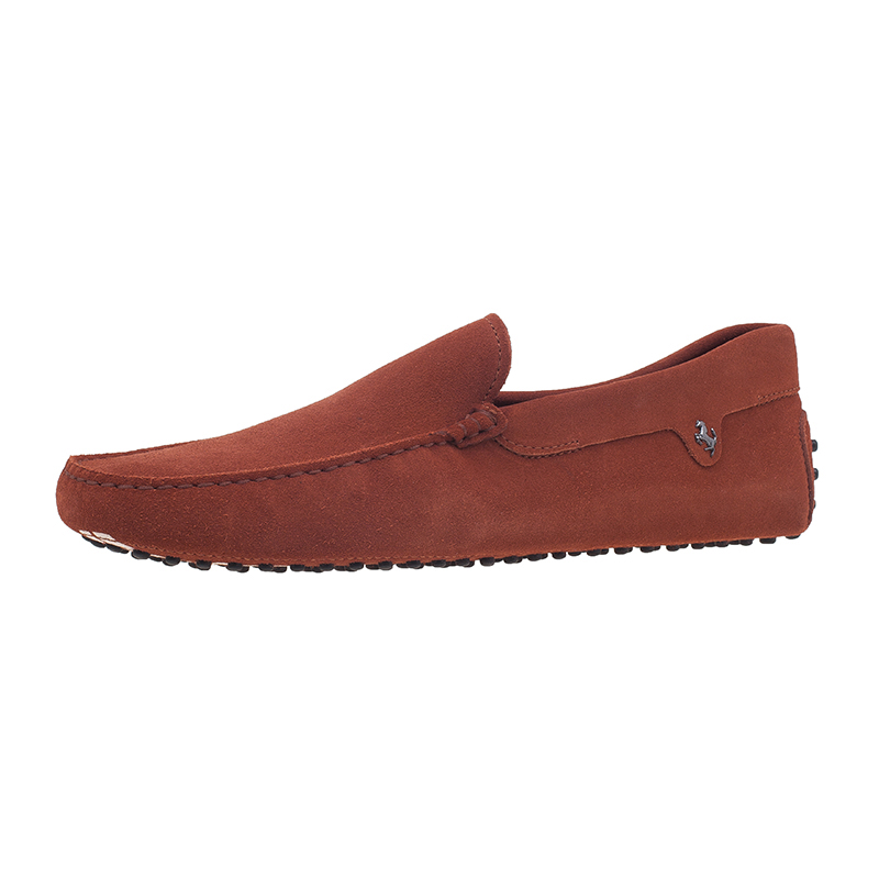 Tod's for Ferrari Orange Suede Limited Edition Gommino Loafers Size 44