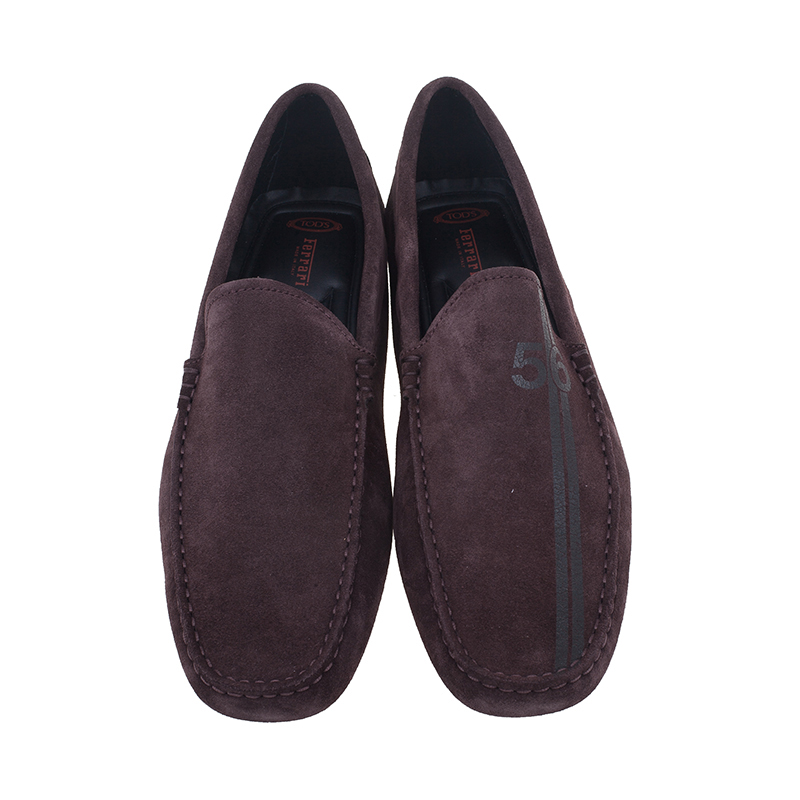 Tod's for Ferrari Brown Suede No.56 Limited Edition Gommino Loafers Size 42.5
